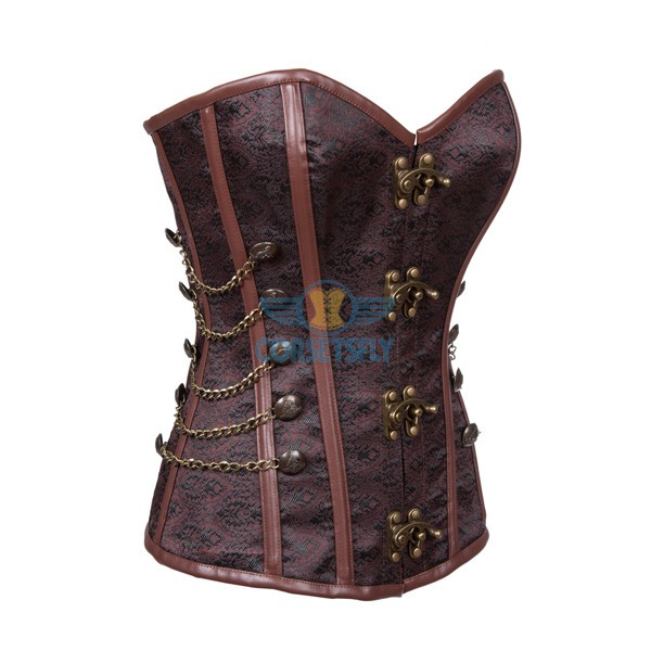 Fullbust Steel Boned Brocade Overbust Steampunk Victorian Corsets With Chains Coffe_01