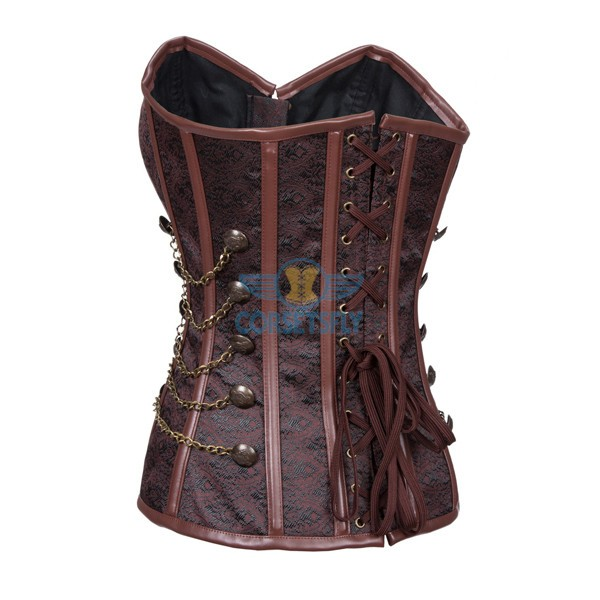 Fullbust Steel Boned Brocade Overbust Steampunk Victorian Corsets With Chains Coffe_02