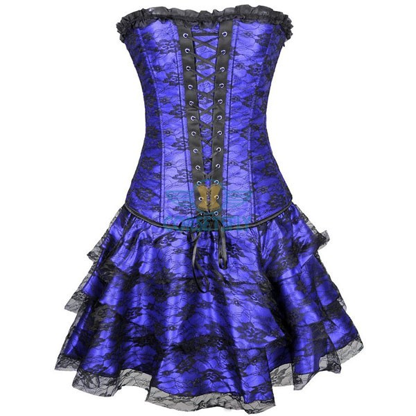 Gothic Lace Up Front Plastic Boned Ruffle Trim Corset Dress CF7852 Blue