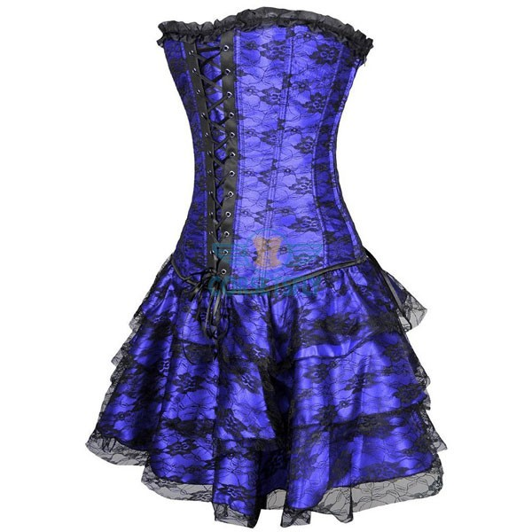 Gothic Lace Up Front Plastic Boned Ruffle Trim Corset Dress CF7852 Blue_01