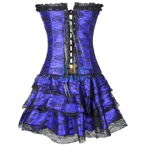 Gothic Lace Up Front Plastic Boned Ruffle Trim Corset Dress CF7852 Blue_02