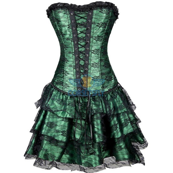 Gothic Lace Up Front Plastic Boned Ruffle Trim Corset Dress CF7852 Green