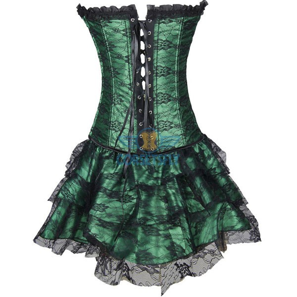 Gothic Lace Up Front Plastic Boned Ruffle Trim Corset Dress CF7852 Green_02