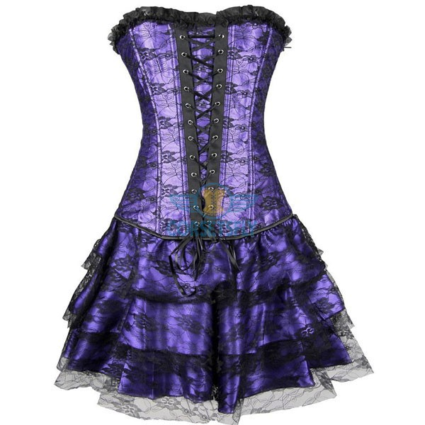 Gothic Lace Up Front Plastic Boned Ruffle Trim Corset Dress CF7852 Purple