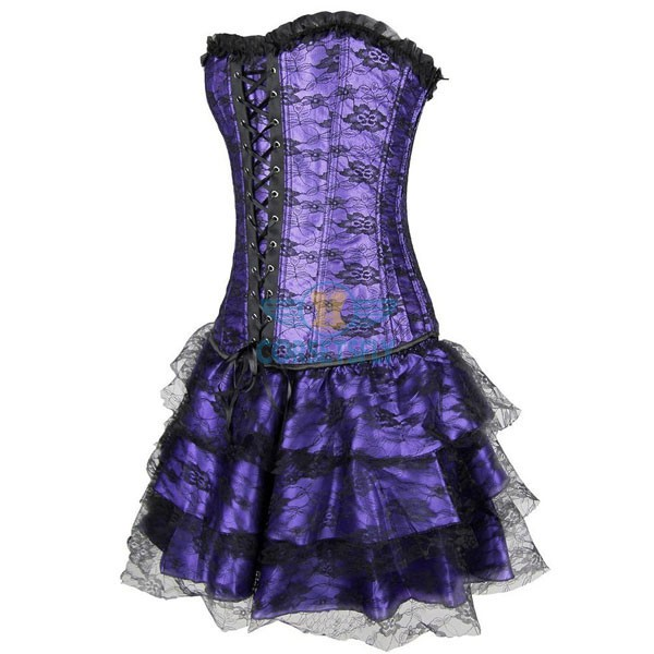Gothic Lace Up Front Plastic Boned Ruffle Trim Corset Dress CF7852 Purple_01