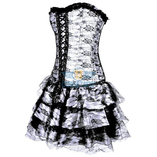Gothic Lace Up Front Plastic Boned Ruffle Trim Corset Dress CF7852 White_01