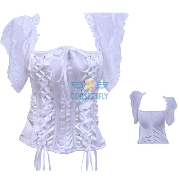 Gothic Lace Up Two Side Hook Eye Closure Front Corset CF7096 White_01