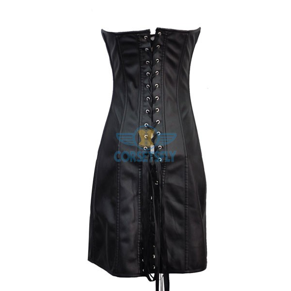 Gothic Retro Steampunk Faux Leather Lace Up Corset Long Dress CF7242_02