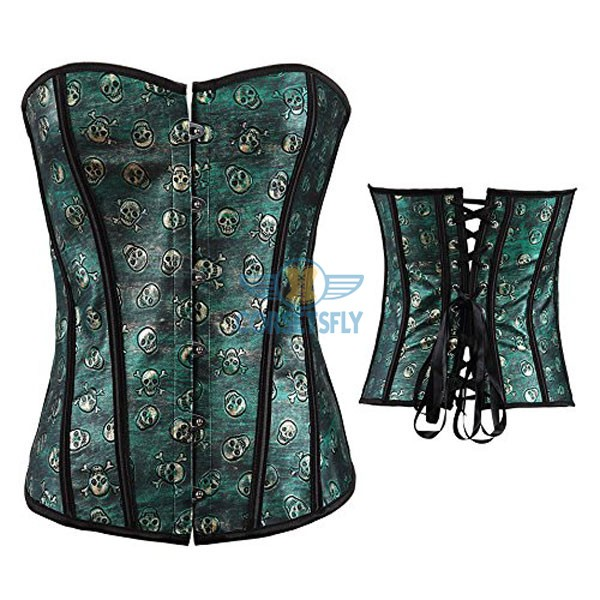 Gothic Skull Pirate Fullbust Rigid Front Steel Busk Leather Corset CF5361 Green_06