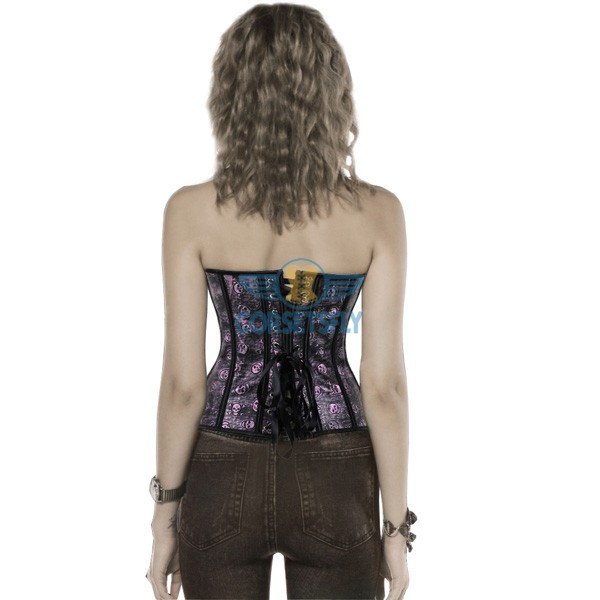 Gothic Skull Pirate Fullbust Rigid Front Steel Busk Leather Corset CF5361 Purple_02