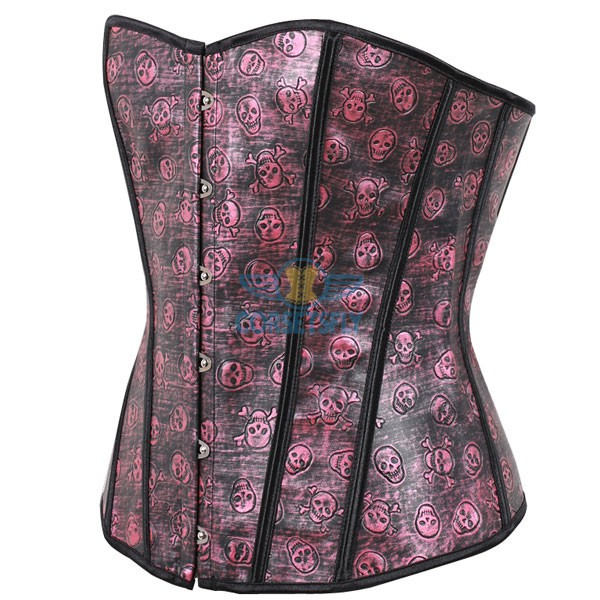 Gothic Skull Pirate Fullbust Rigid Front Steel Busk Leather Corset CF5361 Red_01