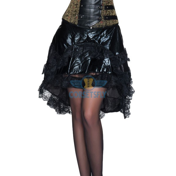 Gothic Steampunk Corset Costume Layered Lace Tulle Zip Tiered Skirt CF6502