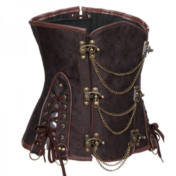 Gothic Steampunk Heavy Steel Boned Duty Retro Waist Cincher Underbust Corset CF8042 Brown_03