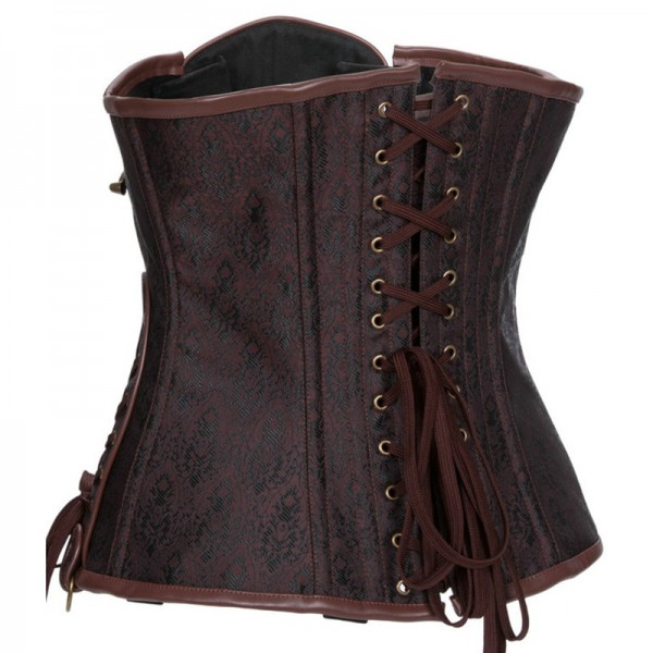 Gothic Steampunk Heavy Steel Boned Duty Retro Waist Cincher Underbust Corset CF8042 Brown_02