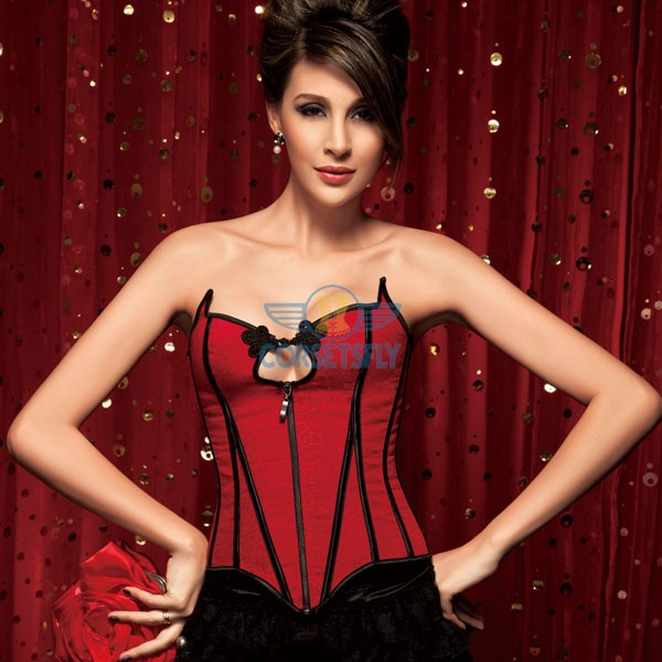 Graceful Cotton Button Red Premium Stain Overbust Corset with zipper Closure CF5099 Red_02