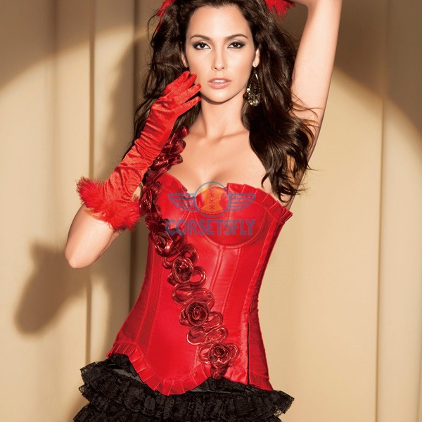 Graceful Queen Inclined Flower Front Embelishment Exquisite Satin Strapless Corset CF5173 Red_01
