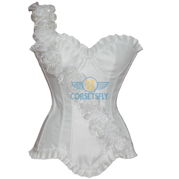 Graceful Queen Inclined Flower Front Embelishment Exquisite Satin Strapless Corset CF5173 White