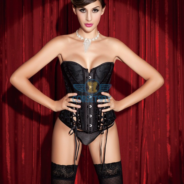 Graceful Victorian Embroidery Buckle Ribbon Side Corset with busk Closure CF5162 Black_01