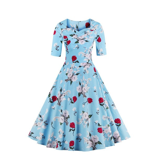 Half Sleeve Rockabilly Swing Floral Print Spring Garden Party Dress CF1398 Blue_01