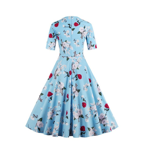 Half Sleeve Rockabilly Swing Floral Print Spring Garden Party Dress CF1398 Blue_02