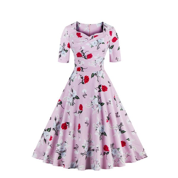 Half Sleeve Rockabilly Swing Floral Print Spring Garden Party Dress CF1398 Pink_01