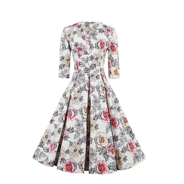 Half Sleeve Swing Floral Print Knee Long A Line 1950's Vintage Spring Dress CF1393_02