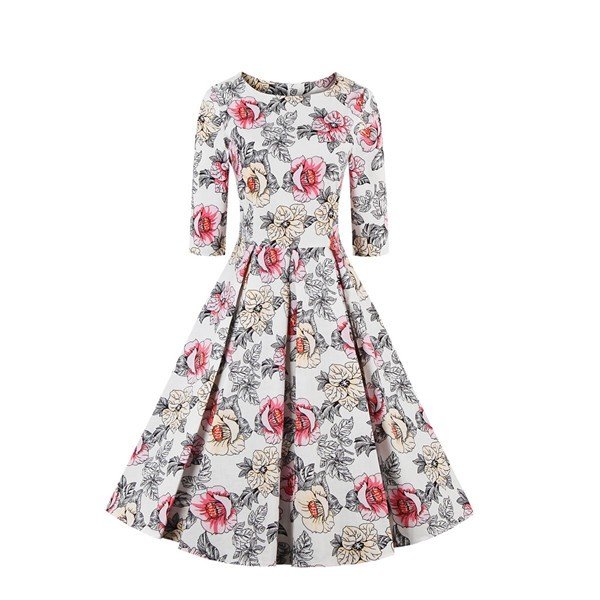 Half Sleeve Swing Floral Print Knee Long A Line 1950's Vintage Spring Dress CF1393_01