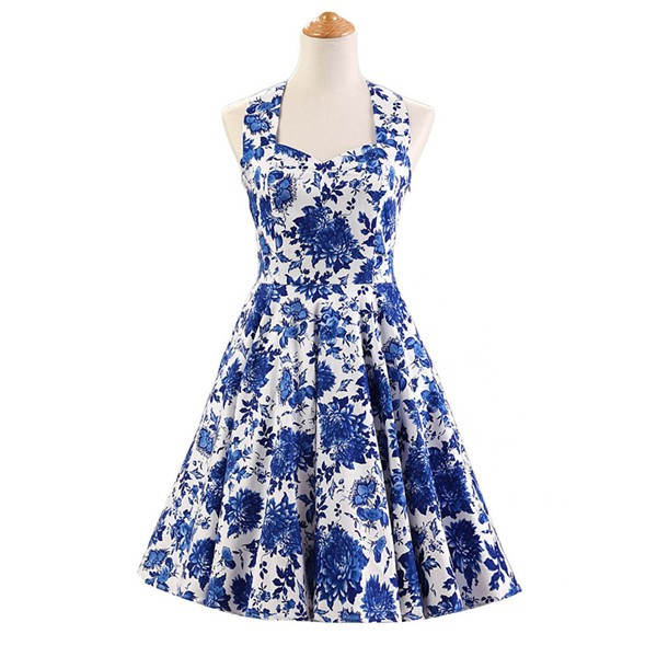 Halter 1950s Hepburn Rockabilly Floral Print Hepburn Circle Cocktail Dancing Dress CF1007 Blue Floral