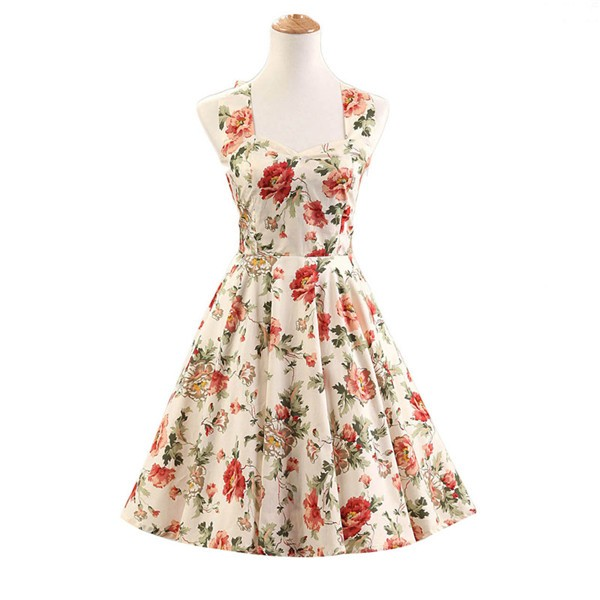 Halter 1950s Hepburn Rockabilly Floral Print Hepburn Circle Cocktail Dancing Dress CF1007 Cream Floral