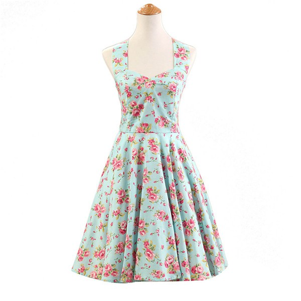 Halter 1950s Hepburn Rockabilly Floral Print Hepburn Circle Cocktail Dancing Dress CF1007 Green Floral