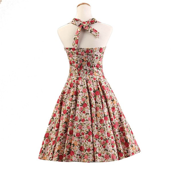 Halter 1950s Hepburn Rockabilly Floral Print Hepburn Circle Cocktail Dancing Dress CF1007 Multi Floral_02