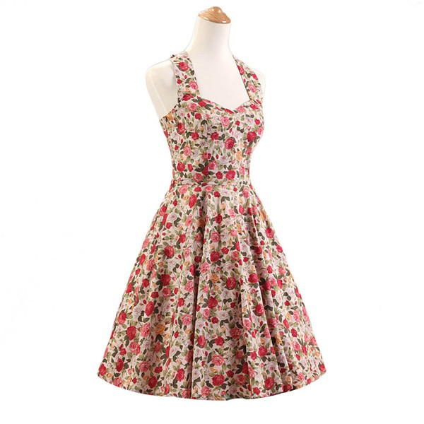 Halter 1950s Hepburn Rockabilly Floral Print Hepburn Circle Cocktail Dancing Dress CF1007 Multi Floral_01