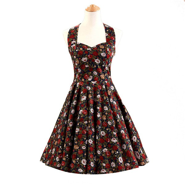 Halter 1950s Hepburn Rockabilly Floral Print Hepburn Circle Cocktail Dancing Dress CF1007 Red Black Floral