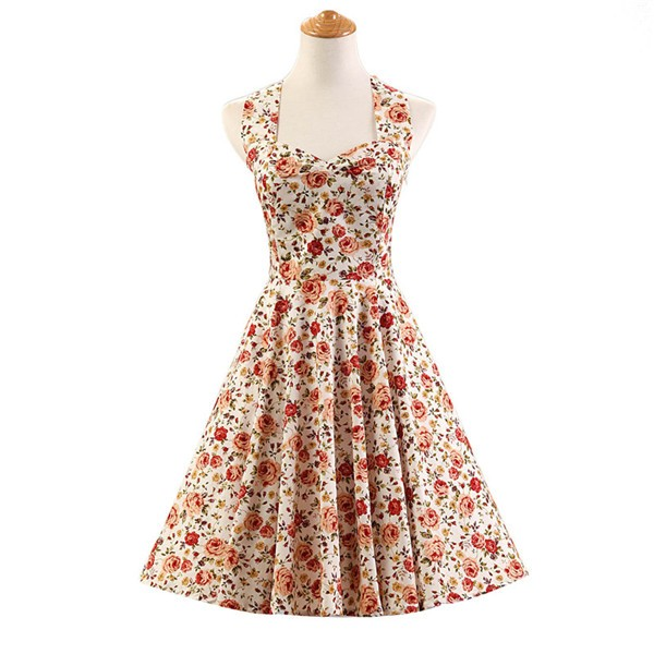 Halter 1950s Hepburn Rockabilly Floral Print Hepburn Circle Cocktail Dancing Dress CF1007 Red White Floral