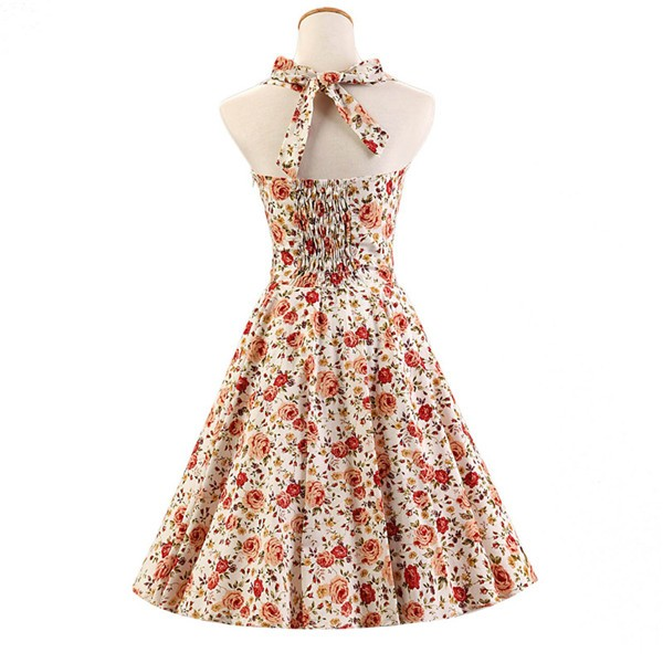 Halter 1950s Hepburn Rockabilly Floral Print Hepburn Circle Cocktail Dancing Dress CF1007 Red White Floral_02