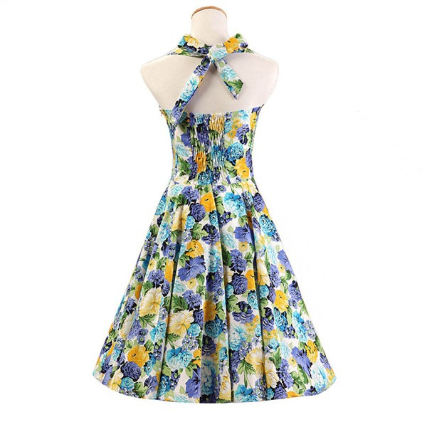 Halter 1950s Hepburn Rockabilly Floral Print Hepburn Circle Cocktail Dancing Dress CF1007 Yellow Floral_02