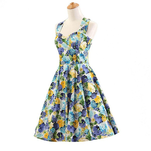 Halter 1950s Hepburn Rockabilly Floral Print Hepburn Circle Cocktail Dancing Dress CF1007 Yellow Floral_01