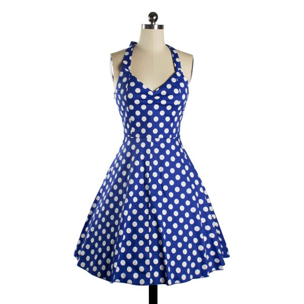 Halter 1950s Rockabilly Polka Dots Audrey Dress Retro Cocktail Dress blue