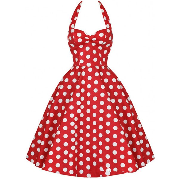 Halter 1950s Rockabilly Polka Dots Audrey Dress Retro Cocktail Dress red_02