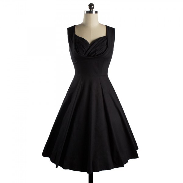 Halter 50s V Neck Vintage Polka Dots Cut Out Retro Swing Dresses black_01