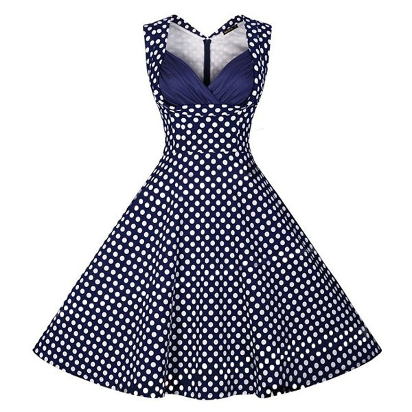 Halter 50s V Neck Vintage Polka Dots Cut Out Retro Swing Dresses blue