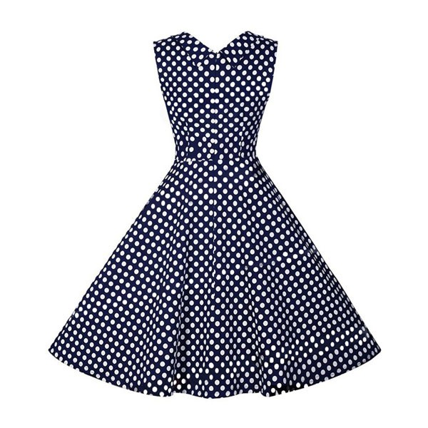 Halter 50s V Neck Vintage Polka Dots Cut Out Retro Swing Dresses blue_01