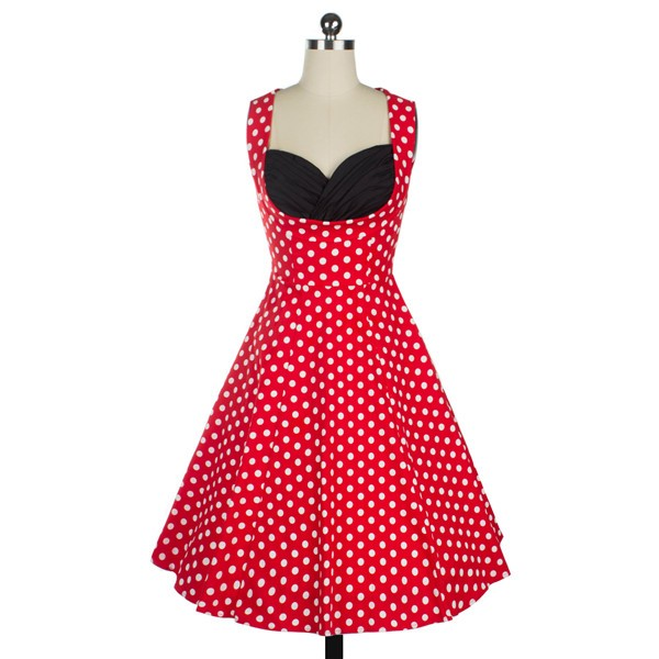 Halter 50s V Neck Vintage Polka Dots Cut Out Retro Swing Dresses red_01