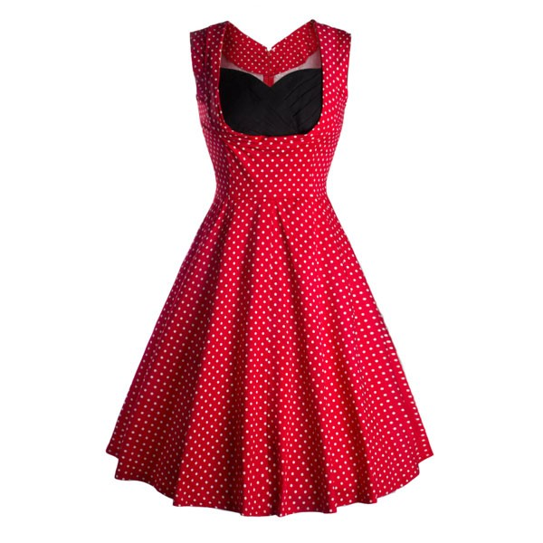 Halter 50s V Neck Vintage Polka Dots Cut Out Retro Swing Dresses red