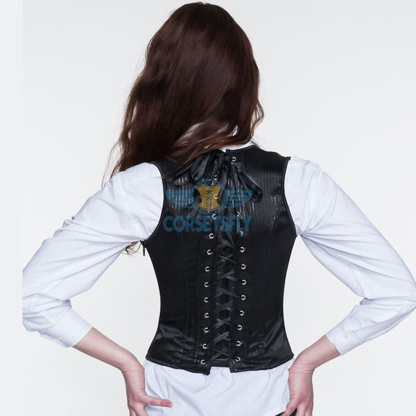 Halterneck Gothic Steampunk Side Zipper Stripes Long Burlesque Underbust Corset CF5502_05