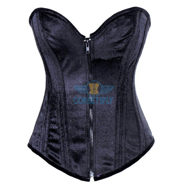 Heavy Duty Steel Boned Thick Cording Back Zipper Front Corset CF7098 Black