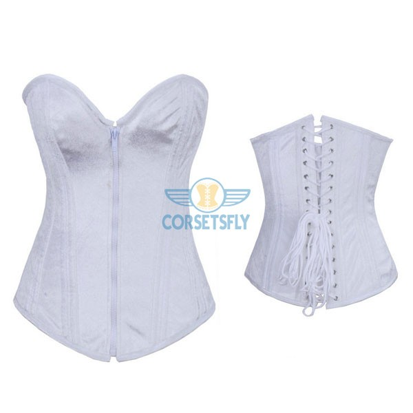 Heavy Duty Steel Boned Thick Cording Back Zipper Front Corset CF7098 White_02