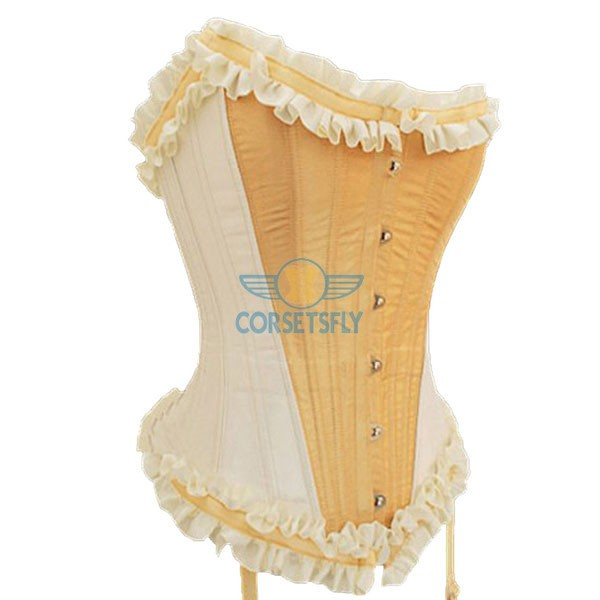 Heavy Duty Waist Training Steel Boned Tie Strap Burlesque Corset CF7064 Yellow