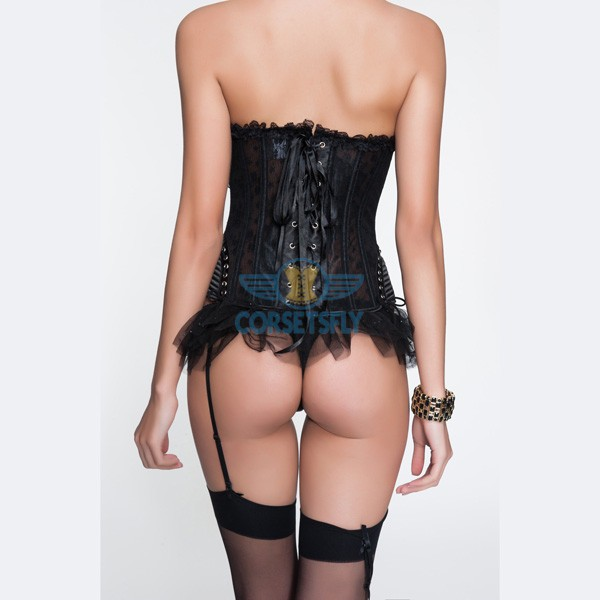 Hip Gauge Zip Front Ruffle Trim Corset and Garters Panty CF6802_01