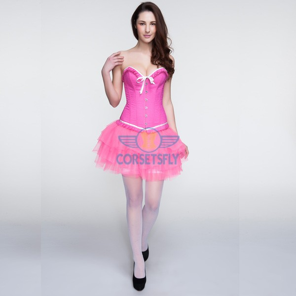 Hot Pink Ruffle Trim Bowknot Corset and Pink Layered Petticoat CF6816_01